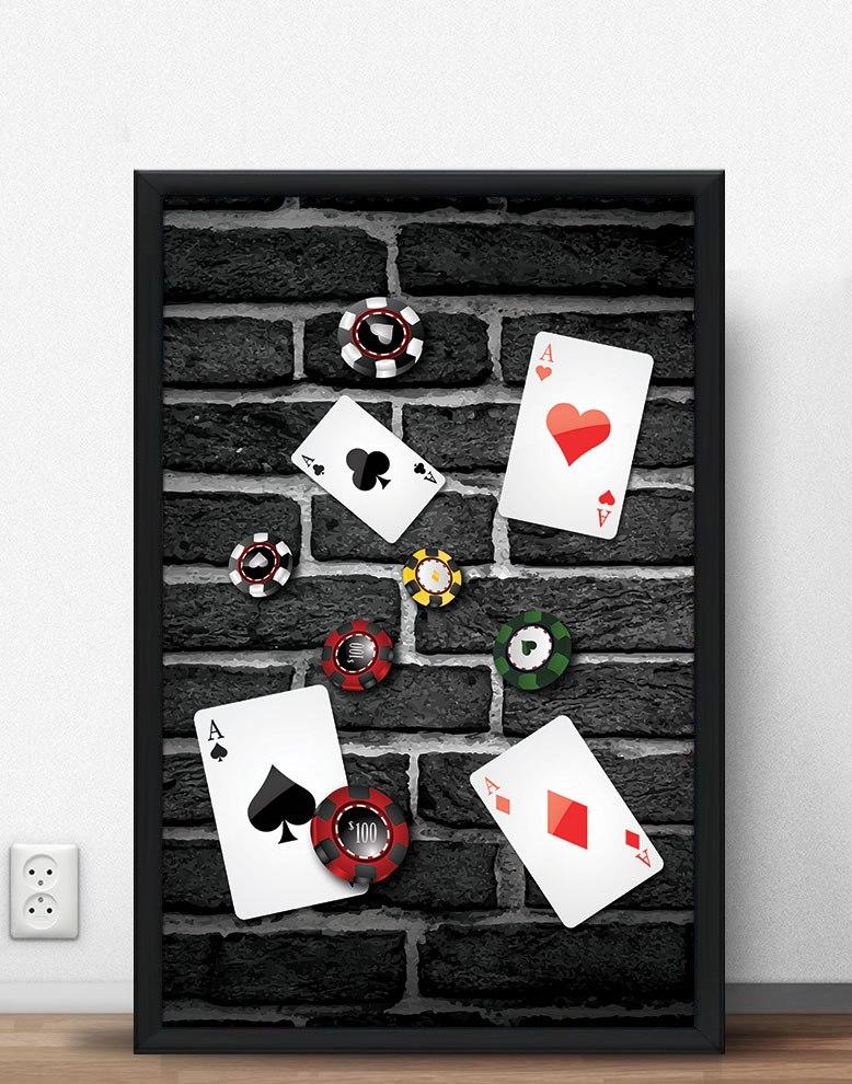 E Quadra quadro poker fichas e quadra de ases - 100 x 70 cm (moldura - r$ 174