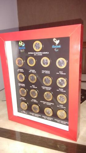 quadro porta 17 moedas olimpíadas com imãs
