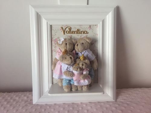 quadro porta maternidade familia urso