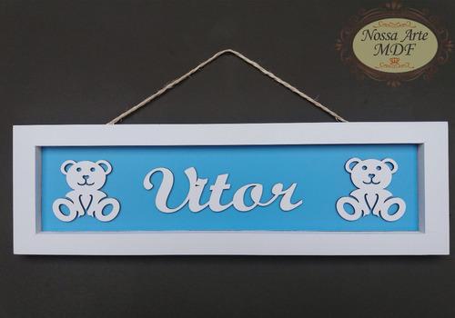 quadro porta maternidade ursinho azul (menino)
