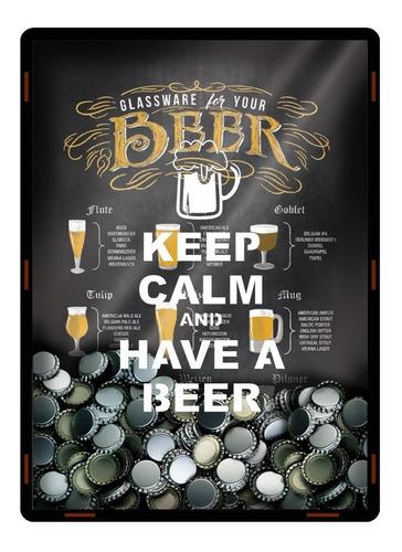 quadro porta tampinha cerveja decoracao mdf tipo copos 2582