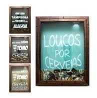 quadro porta tampinha tampa 20x25 com vidro moldura rustica