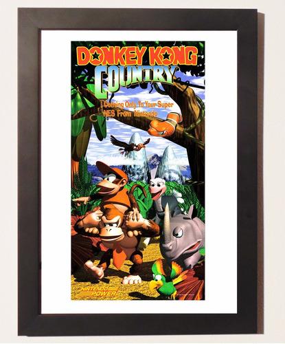 quadro poster c.moldura donkey kong country 1 super nintendo
