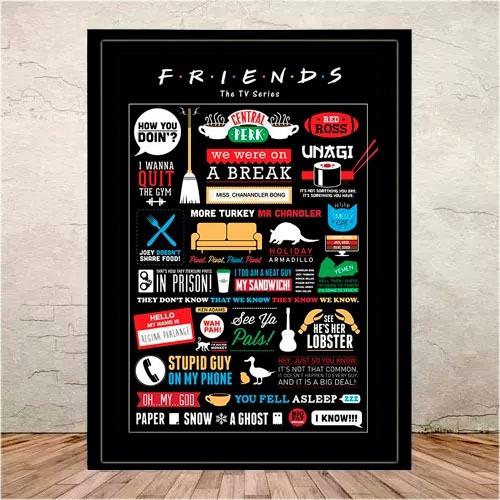 quadro poster ilustração friends moldura e vidro  45x35cm #1