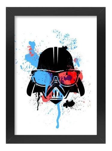 quadro poster star wars darth vader geek side com moldura a4