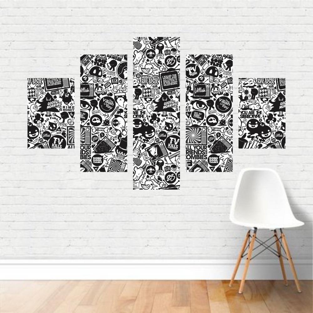 Quadro Preto E Branco Figuras Frases Colagem Monstros Canvas