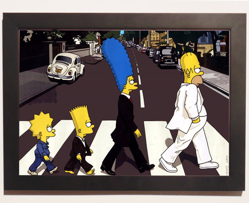 quadro pôster com moldura  simpsons rock beatles