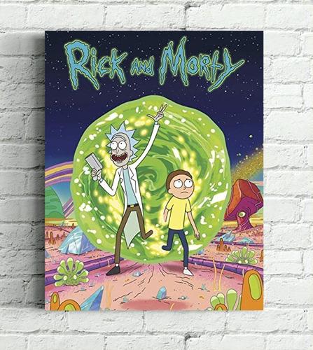 quadro rick and morty impressão em tela de pintura 30x40