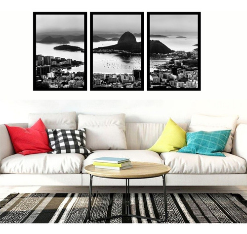 quadro rio de janeiro corcovado preto e branco moldura120x60