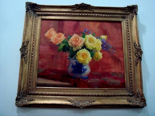 quadro rosas - obra, arte, acadêmico, floral, vaso, estilo