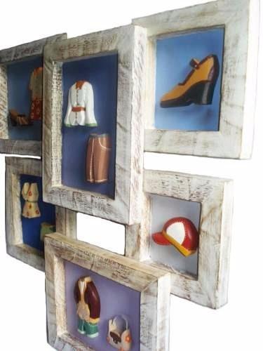 quadro roupas e acessórios madeira (56 x 52)cm