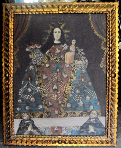quadro santa cusquenha nossa senhora e jesus óleo sobre tela