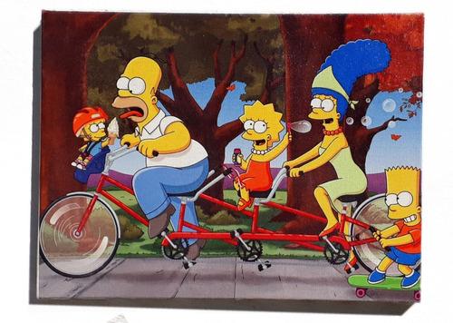 quadro simpsons bikeem tela de pintura 30x40 cm