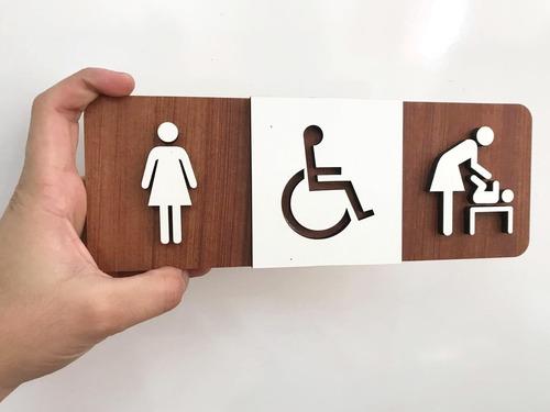 quadro sinalização banheiro deficiente fraldário mulher