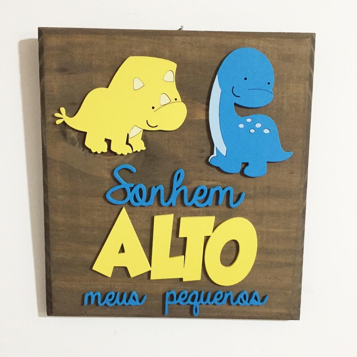 849b7d3136800a Quadro Sonhe Alto Irmãos Infantil Decoração Dinossauro Bebê
