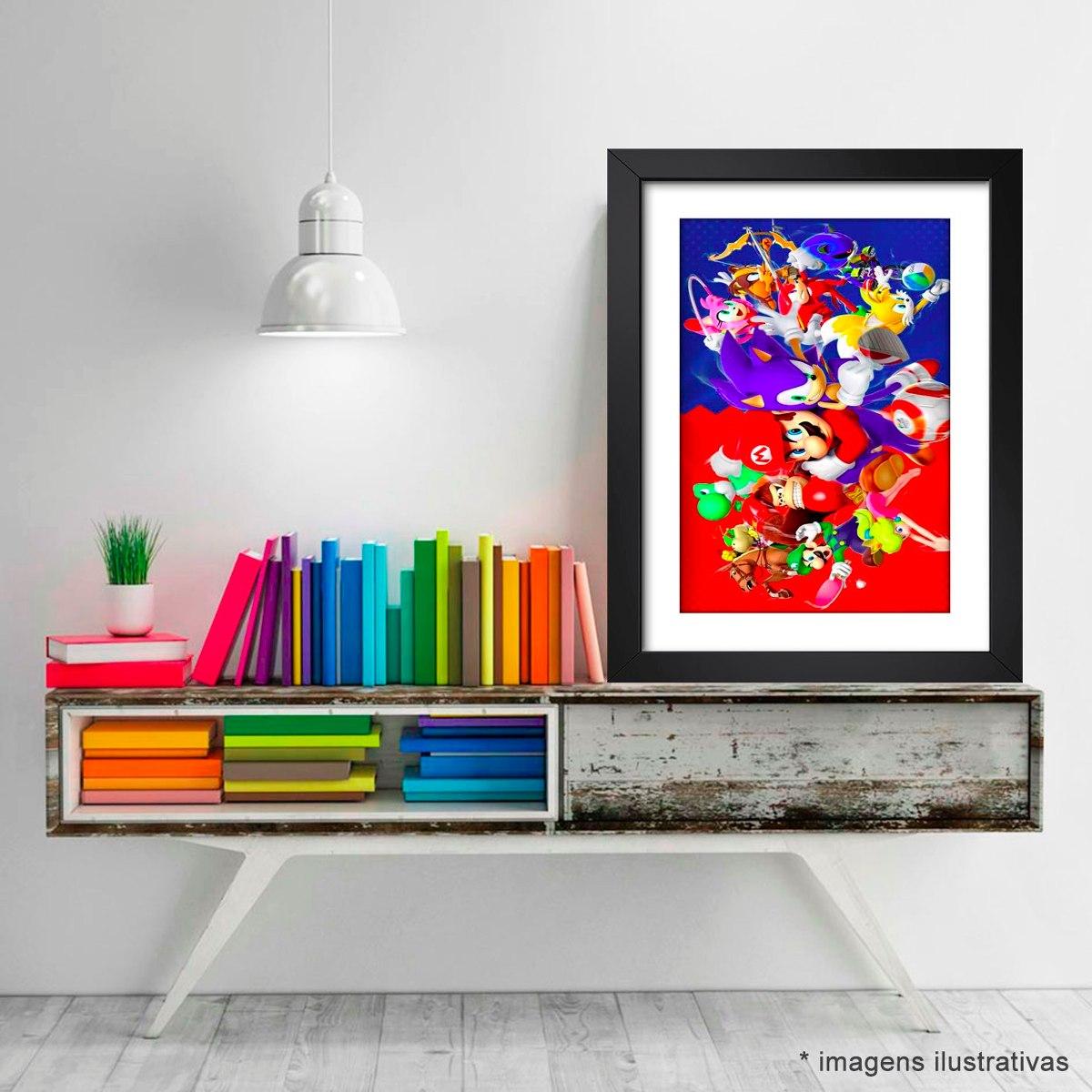 Quadro Sonic Super Mario Game Serie Tv Decorativo Sala Jogos R  -> Sala De Tv E Jogos
