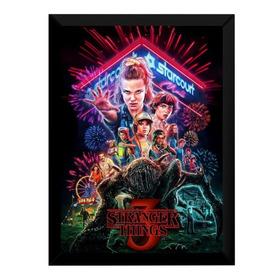 Quadro Stranger Things Arte Poster 3 Temporada Moldurado