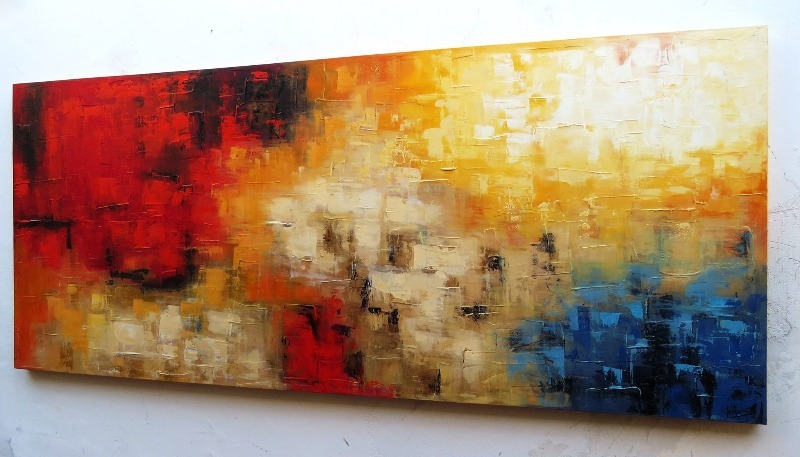 67a264d32 Quadro Tela Abstrata Colorida Luxo De 150 X 70 Cm Cod. 1332 - R  997 ...