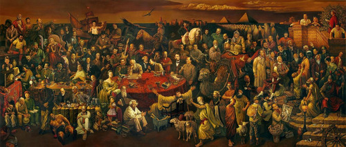 quadro tela pessoas famosas do mundo juntas 30x70cm