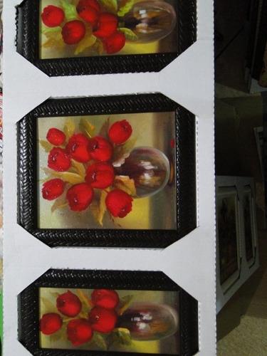 quadro trio triplo tres partes tulipas