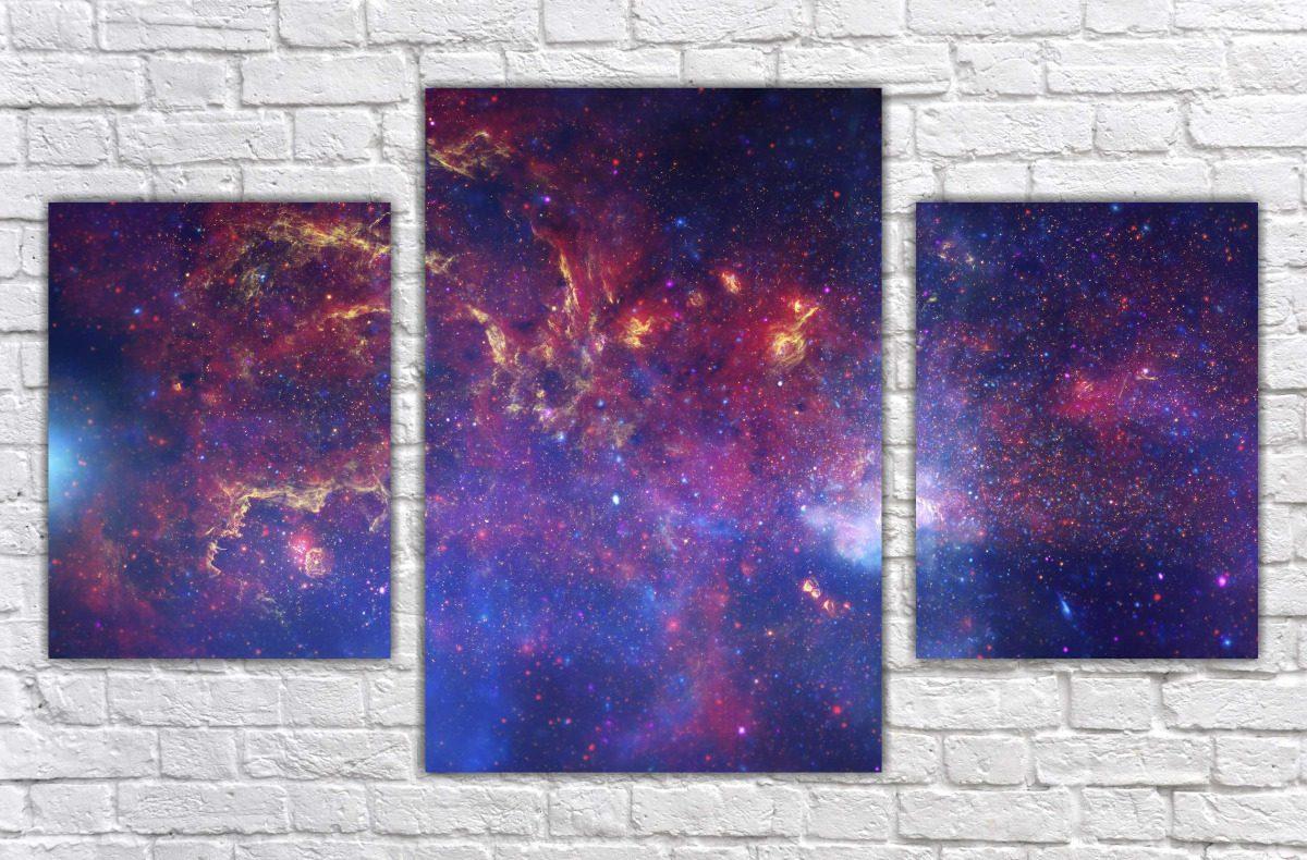 Quadro universo espa o estrelas gal xia terra lua planetas - Cuadros pintados con spray ...