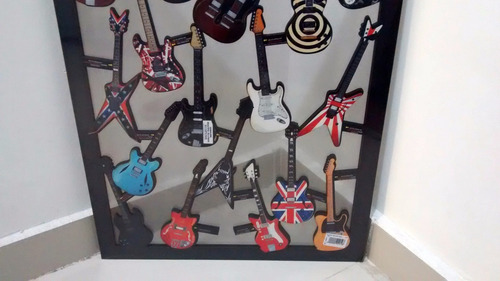 quadro vazado guitarras famosas decoração parede mdf rock