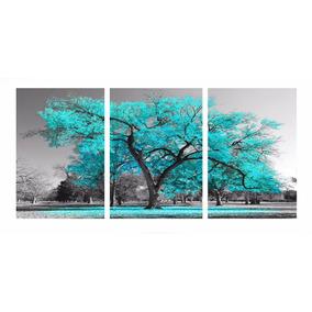5f5c94f73853c Quadro Decorativo Arvore 70x150 - 3 Peças Cor Azul Tiffany · R  199