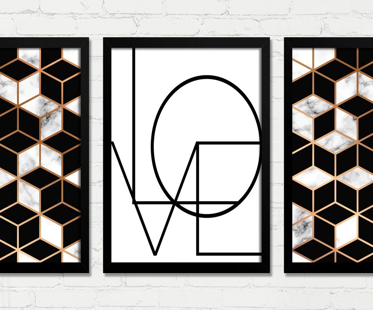 7745d9cff quadros abstrato geométrico preto dourado branco love b. Carregando zoom.