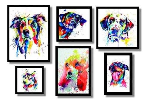 quadros cães  amigos e fiéis kit 6 quadros decorativos