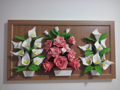 quadros com flores  3d em eva