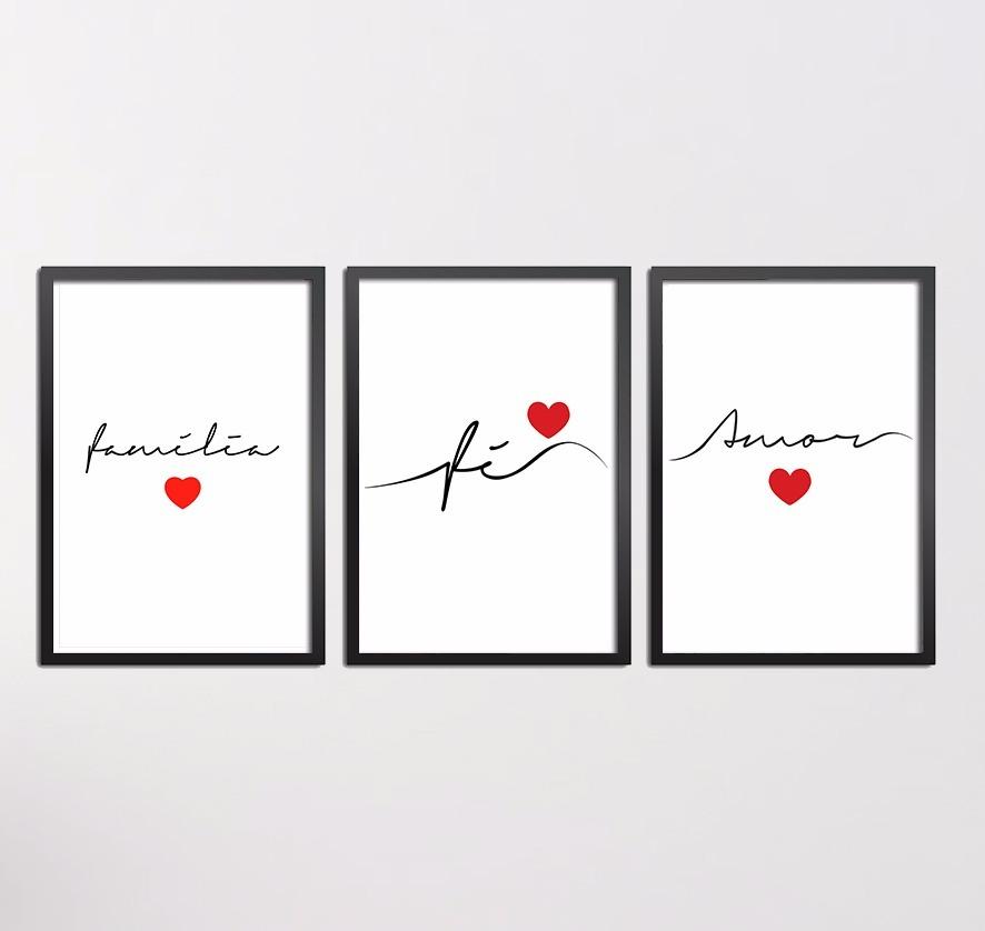 97a66446c quadros conjunto kit familia amor fé com moldura e vidro. Carregando zoom.