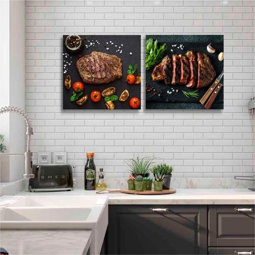 quadros decoração cozinha churrasco carne 60cm mdf 6mm
