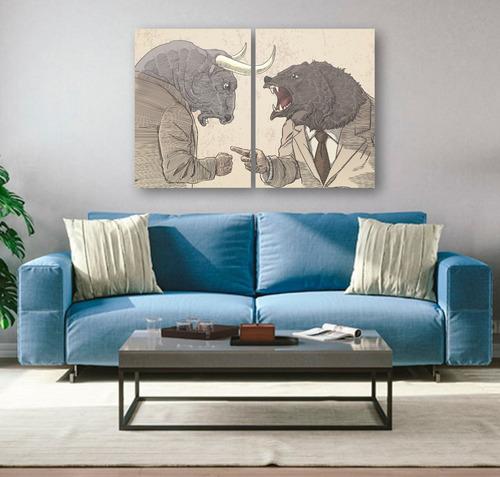 quadros decoração investidor trader touro e urso mdf 6mm