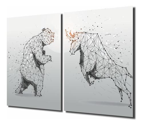 quadros decoração investidor trader touro urso bolsa mdf 6mm