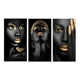 Quadros Decorativo 3 Peças Mulher Africana Maquiagem Dourada
