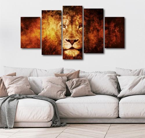 quadros decorativo decoração evangelico leão 5 peças mdf 6mm