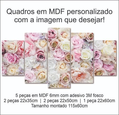 quadros decorativo moderno floral rosas sala casa em mdf 6mm