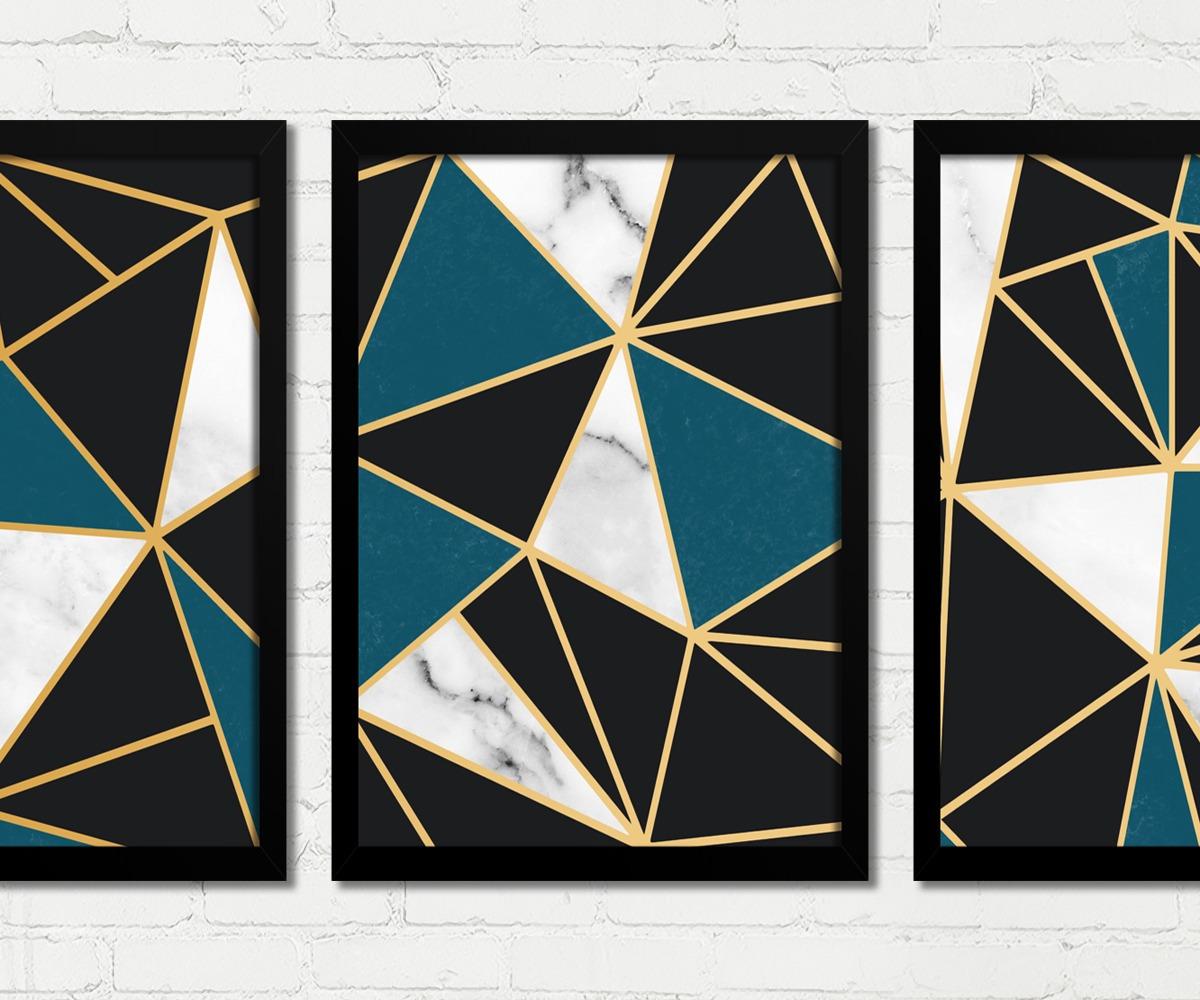 92a2c0a0d quadros decorativos abstrato triângulos preto azul dourado b. Carregando  zoom.