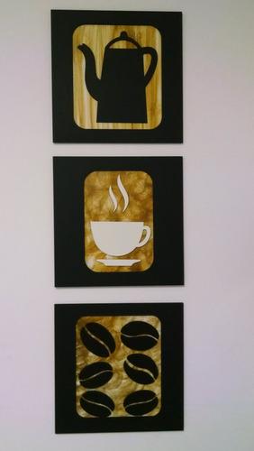 quadros decorativos café cozinha pintado 30cm frete grátis