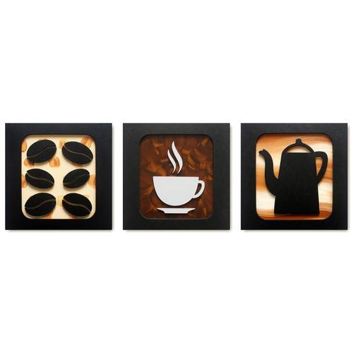 quadros decorativos cozinha café 30cm trio promoção