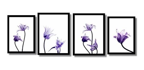 quadros decorativos flores aquarela salas  4 quadros.
