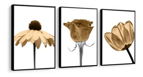 quadros decorativos flores grandes bege decoração casa sala