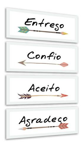 quadros decorativos frases palavras flechas moldura branca
