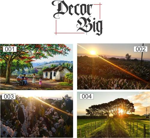 quadros decorativos médio 40cm x 30cm paisagem, fazenda sol