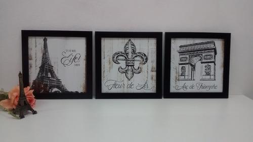 quadros decorativos paris flor de lis c vidro moldura preta