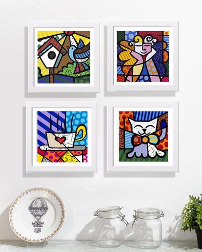 quadros decorativos romero britto 4 un. c/ moldura e vidro!!