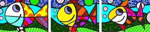 quadros decorativos romero britto -three fish - três peixes