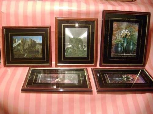 quadros holograficos antigos 5 temas diferentes - bom estado
