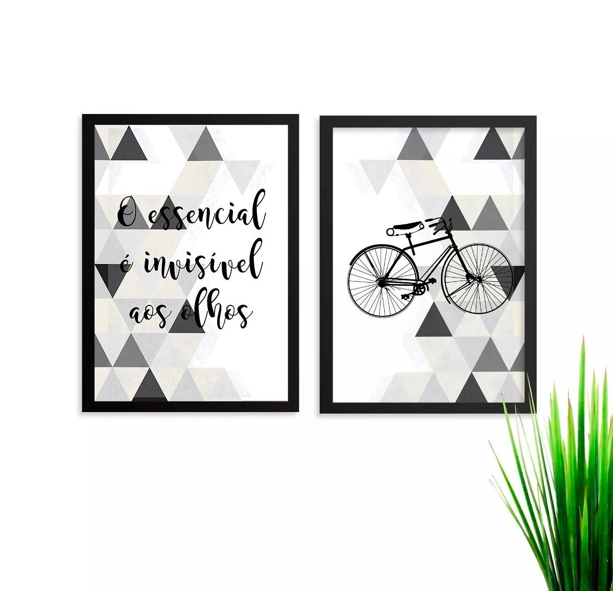 Quadros Kit Conjunto Bicicleta Frase Abstrato Preto E Branco R