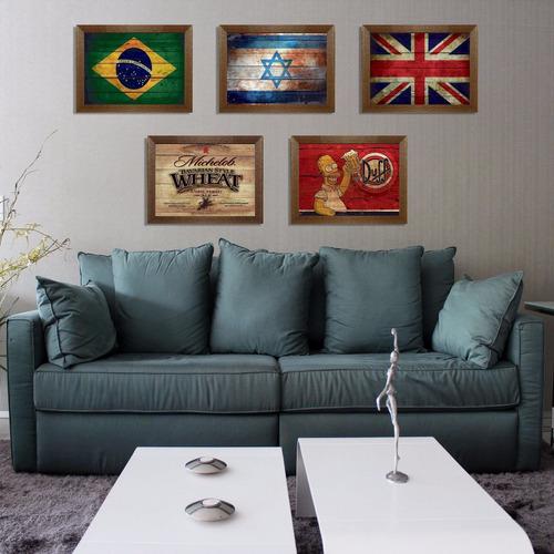 quadros rústicos com moldura estampa vintage retrô 20x30 cm